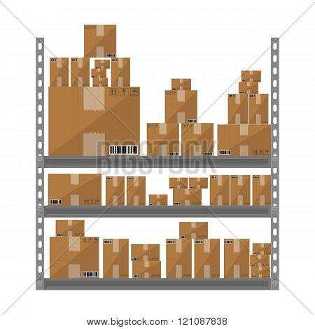 Metallic shelves with cartoon brown boxes. part of warehouse, vector illustration in flat design iso