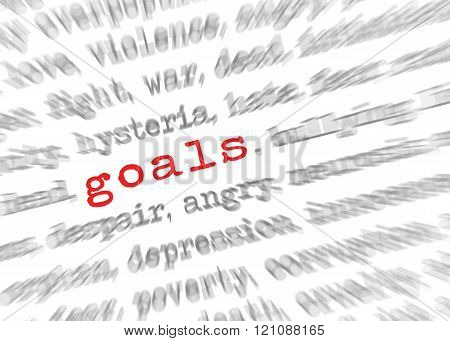 Blured Text Zoom Effect With Focus On Goals
