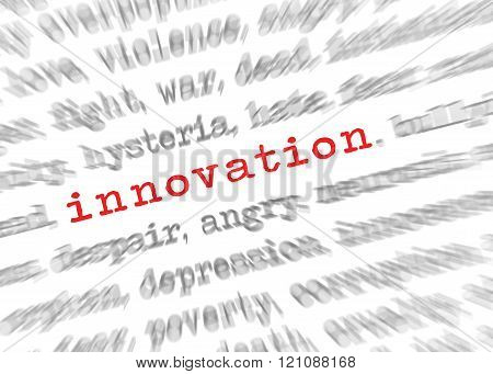 Blured Text Zoom Effect With Focus On Innovation