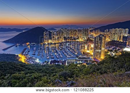 hong kong aberdeen area sunset