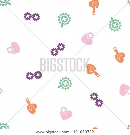 Cardiology Seamless Flat Vector Pattern