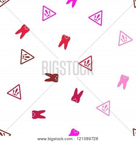 Caries Seamless repeatable pattern. Style is flat vector symbols on a white background.