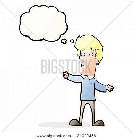 cartoon startled man with thought bubble