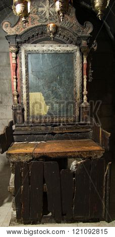 Jerusalem Israel - July 13 2015: One of the side chapels in the Basilica of the Holy Sepulchre in Jerusalem