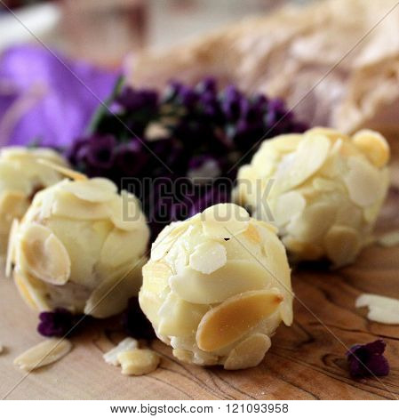 white chocolate sultanas almond covered handmade truffles