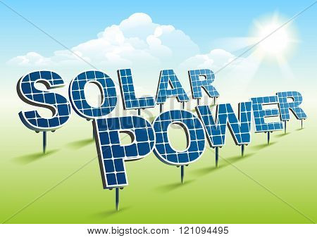 Solar power. Solar panels on green field