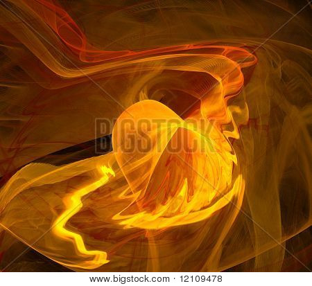 abstract fractal rendering resembling fiery heart