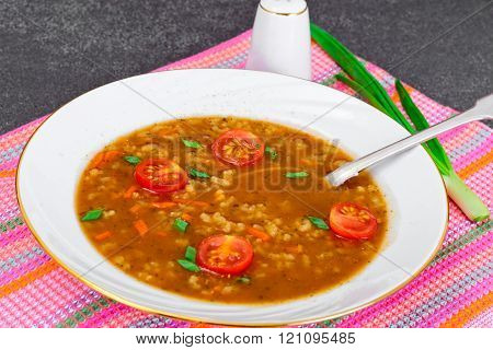 Healthy and diet food: Vegetable soup with rice, curry, grilled
