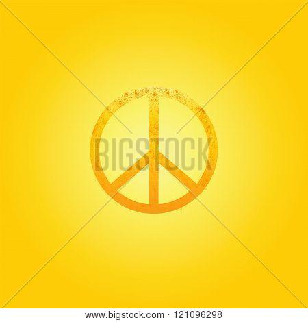 Shabby Golden Peace Symbol
