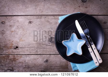 Nautical Table Setting On Aged  Wooden Background. Selective Focus. Place For Text.