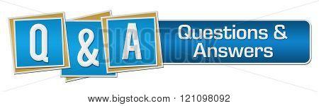 Q And A Blue Squares Stripe Horizontal