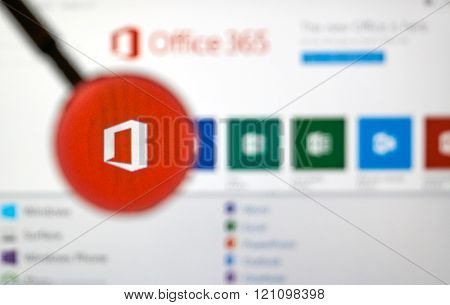 MONTREAL CANADA - MARCH 9 2016 - Microsoft Office application under magnifying glass. Microsoft Office is one of the famous MIcrosoft's product.