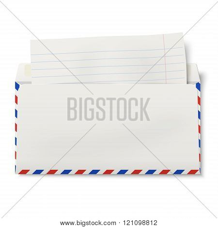 View Of Backside Of Opened Dl Air Mail Envelope With Lined Paper Inside