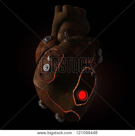 rusty steampunk metal techno human heart, burning from the inside, isolated