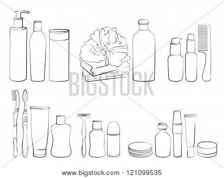 Sketch of elements for bath or shower