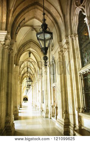 Hallway Above The Rathaus (town Hall) Is A Building In Vienna, Austria