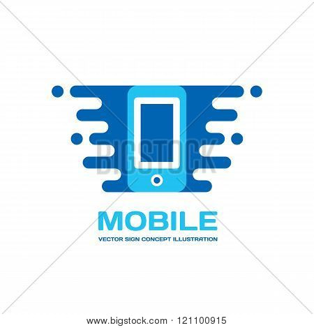 Mobile phone vector logo concept illustration. Smartphone vector logo creative illustration.