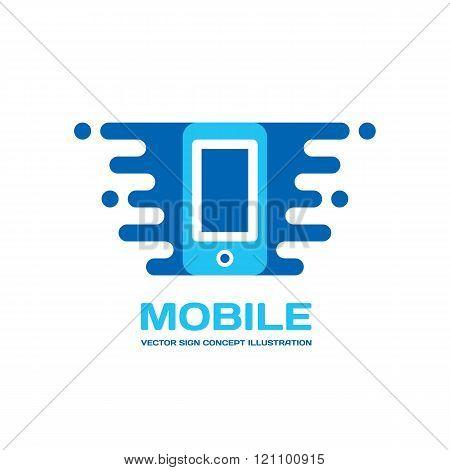 Mobile phone vector logo concept illustration. Smartphone vector logo creative illustration.