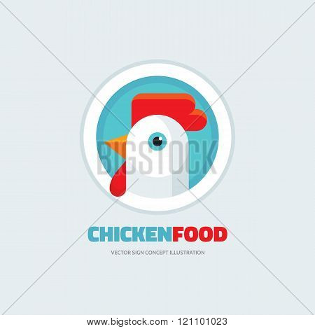 Chicken Food Rooster Vector Logo Concept Illustration In Flat