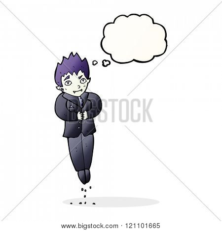 cartoon floating vampire with thought bubble
