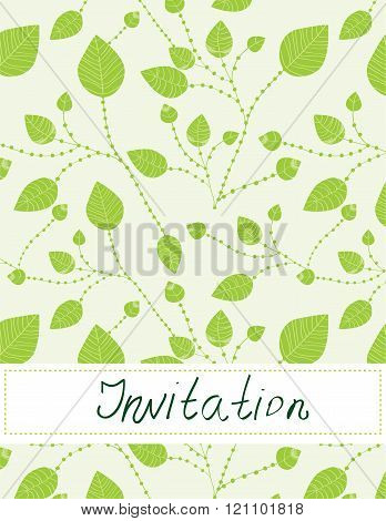 Invitation Blank With Leaves Pattern -  Illustration