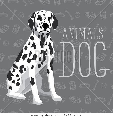 Vector geometric dogs collection with seamless background. Dalmatian