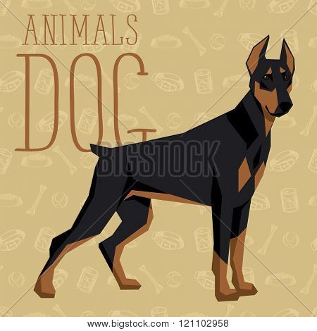 Vector geometric dogs collection with seamless background. Doberman Pinscher