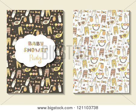 Cute hand drawn doodle postcard with baby shower objects