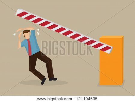 Automatic Boom Barrier Accident Cartoon Vector Illustration