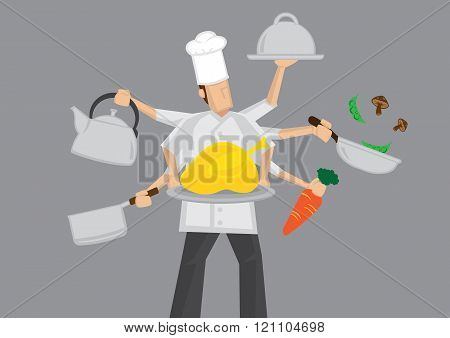 Busy Chef Cartoon Vector Illustration