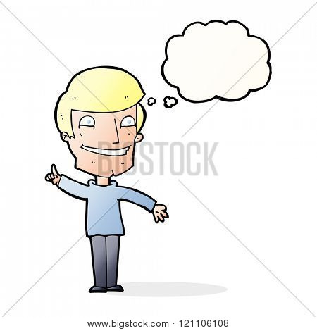 cartoon grinning man with idea with thought bubble