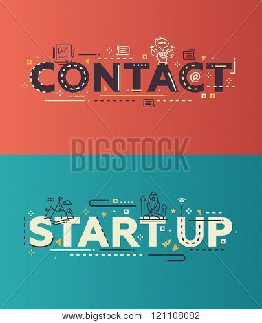 Modern flat design Contact, Start Up lettering with business icons