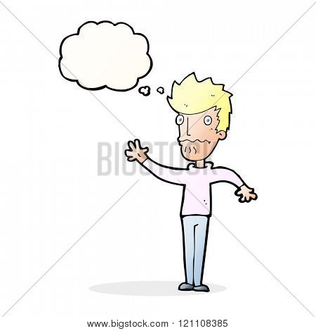 cartoon worried man reaching out with thought bubble