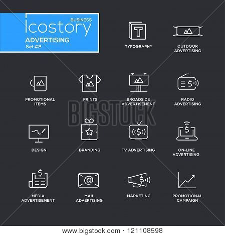 Set of modern vector advertising plain simple thin line design icons and pictograms on black background. Collection of infographics objects and web elements. Typography, outdoor, boadside, media advertising, branding, marketing,