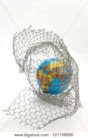 The Global Map In To A Wire Fence