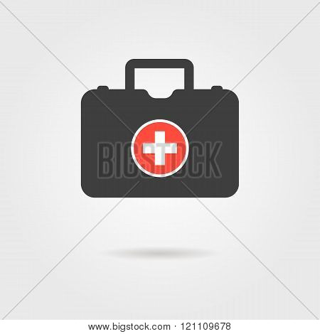 black medical case with shadow