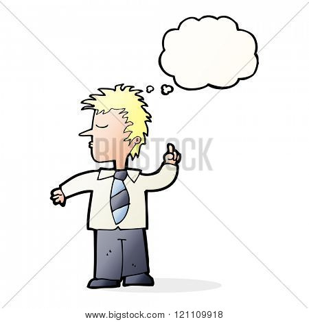 cartoon man making his point with thought bubble