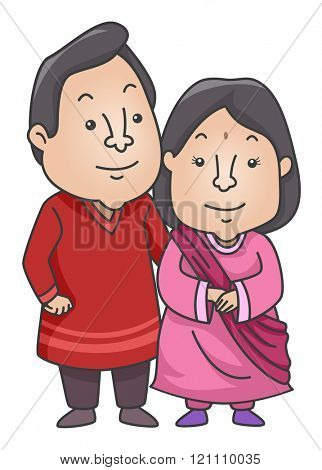 Illustration of an Indian Couple Wearing a Traditional Kurta and Sareeh Outfit