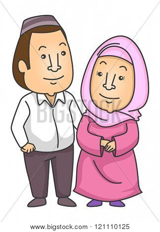 Illustration of a Muslim Couple Wearing a Taqiyah and Hijab