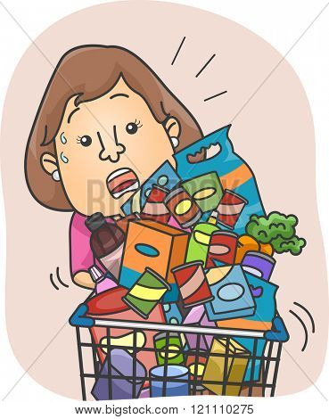 Illustration of a Woman Struggling with a Full Grocery Cart