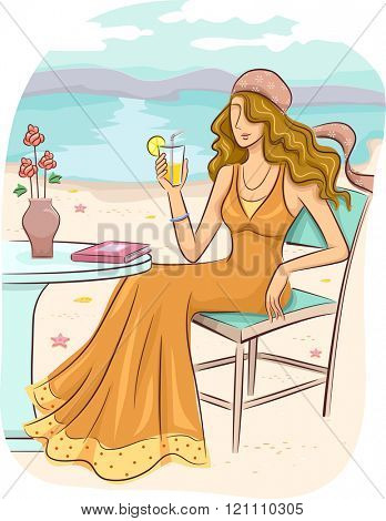 Illustration of a Girl in a Bohemian Dress Lounging by the Beach