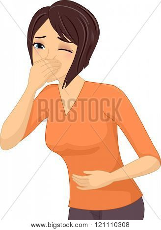 Illustration of a Sick Girl About to Throw Up