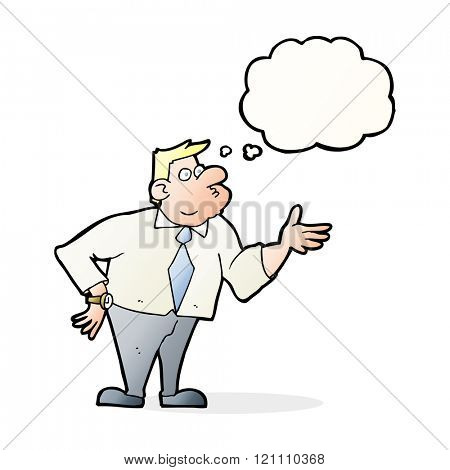 cartoon businessman asking question with thought bubble