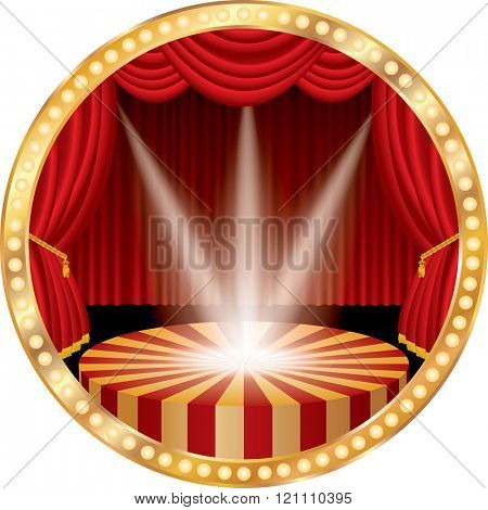 vector circle stage with red curtain, golden frame, bulb lamps and three transparent spotlights