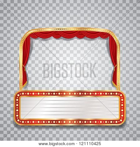 vector stage with red curtain, golden frame, transparent shadow and blank billboard
