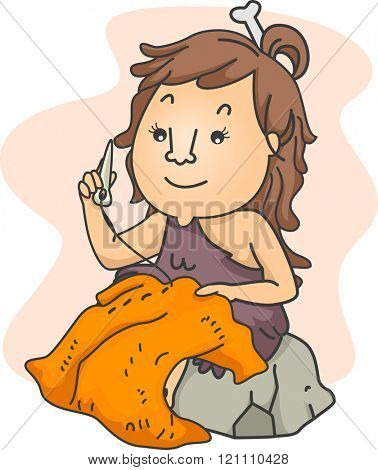 Illustration of a Stone Age Girl Sewing Clothes Using a Needle Made of Bone