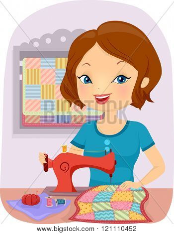 Illustration of a Girl Sewing a Colorful Quilt