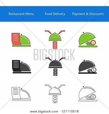 restaurant food delivery service icons
