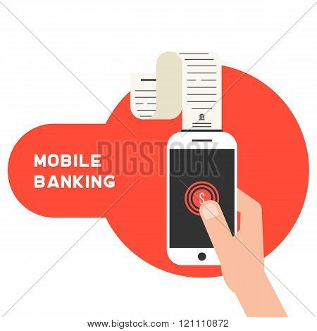 mobile banking with smart phone and paycheck
