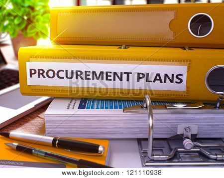 Yellow Ring Binder with Inscription Procurement Plans.